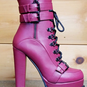 """Luichiny Storm Chase Ankle Boot Lace Up Platforms  Burgundy Wine - 5"""" Block Heels"""