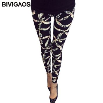 BIVIGAOS New Women's BRUSHED Cross Plum Flowers Multicolor High Elastic Leggings Pants