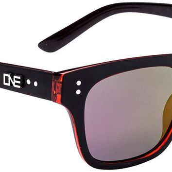One by Optic Nerve Bonnaroo Sunglasses, Matte Black/Red