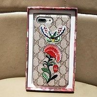 GUCCI Fashion Embroidery iPhone Phone Cover Case For iphone 6 6s 6plus 6s-plus 7 7plus 8 8plus
