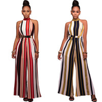 New Arrive Women Jumpsuit Women's Party Sleeveless Stripe Jumpsuits Hot Sexy Rompers Womens Jumpsuit Combinaison Femme