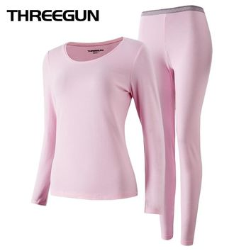 THREEGUN 2018 Winter New Long Johns Underwear Thermal Long Sleeves Keep Warm Round Neck Women Winter Clothes Seamless Thermo Set