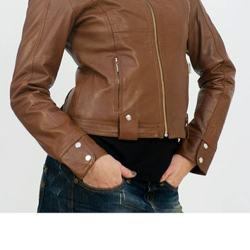 Handmade women brown leather Jacket, women brown  biker leather jacket, vintage jackets