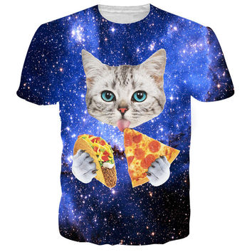 New fashion cat t shirt 3d printed Blue red galaxy tee shirt Casual animal t-shirt men women Funny tshirt homme unisex clothing