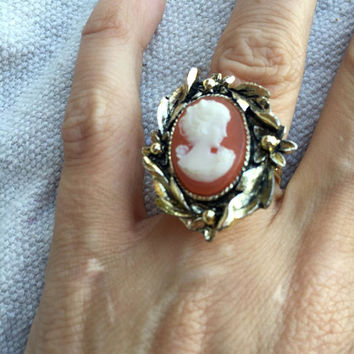 1960s Cameo Ring - large cocktail ring - carved cameo ring - bijou - 1960's vintage - one size fits all - victorian revival - troppobella