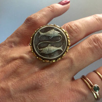 Large Pisces Ring - adjustable ring - bintage Pices Ring - faux cameo ring - bijou - 60's vintage ring - cocktail ring - brass - zodiac