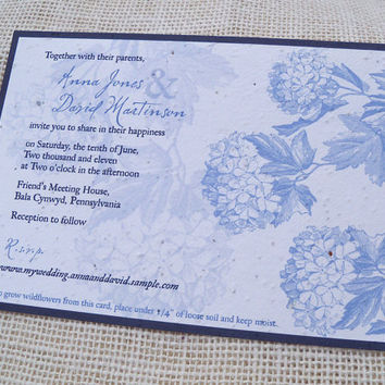 Hydrangea wedding invitations on plantable paper, blue wedding, summer wedding, rustic wedding invitation, country garden wedding, set of 25