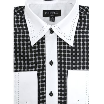 Ferrecci Men's Satine Hi-1005 Black Circle Pattern Button Down Dress Shirt