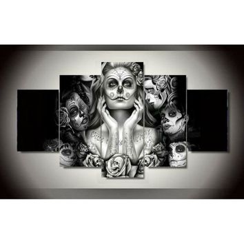 Home Decor Sugar Skull Girl 5 Piece Picture Painting Wall Art Room Decor Poster Wall Decor Canvas Painting (No Frame)