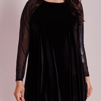 Black Velvet Sheer Sleeve Panel Flounce Hem Plus Size Dress