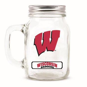 Wisconsin Badgers NCAA Mason Jar Glass With Lid