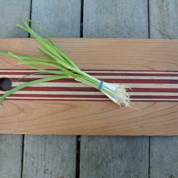 Cherry Cutting Board with Maple and Padauk Stripes