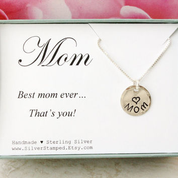 Gift for mom - sterling silver necklace - Mother's Day gift - hand stamped Mom charm - best mom ever that's you- gift box - 1/2 inch pendant