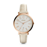 Jacqueline Date Leather Watch, Cream