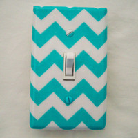 Small Chevron Light Switch Cover Zigzag Pattern / Riley Blake / Switch Plate / Aqua and White