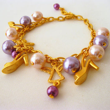 Gold Coated Chic Shoes and Angel Bracelet with Glass Pearl Beads
