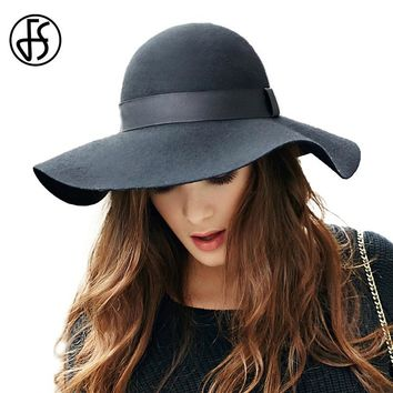 FS Pure Wool Felt Fedora Autumn Winter Wide Brim Elegant Fedoras Black Ladies  Church Hats Ribbon 79ea39eb28de