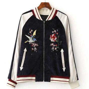 Harajuku Bird Blooming Flower Embroidery Jacket  Women Contrast color Floral Bomber Jacket Coat Pilots Outerwear Black