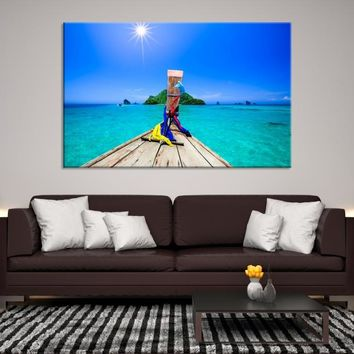 70980 - Extra Large Wall Art Canvas Print - Sea View From Boat Like an Aquarium