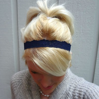 Navy blue stretch lace headband feminine/classic/nautical