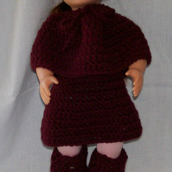 18 Inch Doll, Crochet, Handmade, Doll Hat, Doll Poncho, Doll Skirt, Doll Leg Warmers, Doll Accessories, Crochet Doll Clothes, American Made