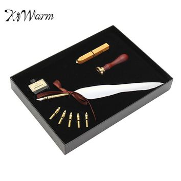 KiWarm Novelty Pure Goose Feather Quill Dip Pen Fountain Pens Writing Ink Set Rare Gift Box With 5 Nib Wedding Gift Art Sets
