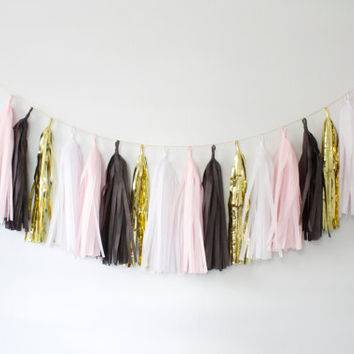 Blush Pink, Black, White and Gold Tassel Garland - Pink and Black Party Decor, Pink and Black Tassel Garland, Pink Party Decoration, Tassel