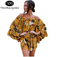 NewAsia Garden Off Shoulder Long Ruffled Flare Sleeve Floral Print Women Playsuit Rompers Shorts Jumpsuit Sexy Beach Overalls