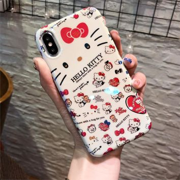 Rlenda blu-ray TPU cover phone case for iphoneX 8 7 6S 6 Plus Cartoon Hello Kitty The pink panther Mickey Minnie Mouse