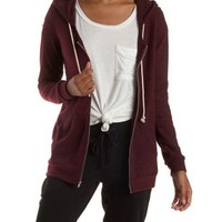 Burgundy Brushed French Terry Zip-Up Hoodie by Charlotte Russe