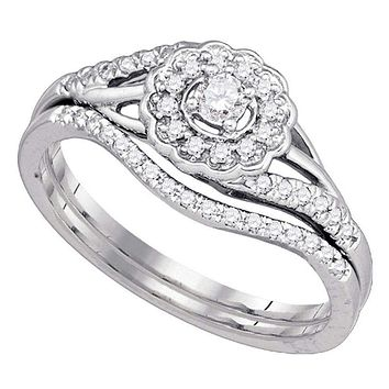 10k White Gold Round Diamond Cluster Women's Wedding Flower Bridal Ring Set - FREE Shipping (US/CA)