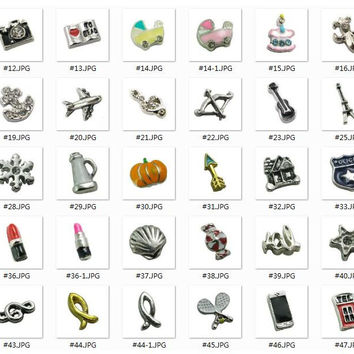 Fashion Mixed styles floating locket charms alloy floating charms initial letter charms number charms