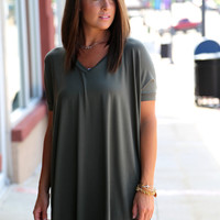 Army Green V-Neck Piko {TUNIC}