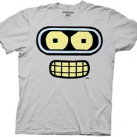 Futurama Bender Face Silver Gray Adult T-shirt  - Futurama - | TV Store Online