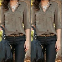 Summer Style Women Army Green Shirt Sexy Fashion Loose Shirt Casual Shirt Clothes Camisa Mujer#2046