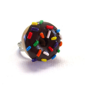Chocolate Rainbow Sprinkle Doughnut Ring