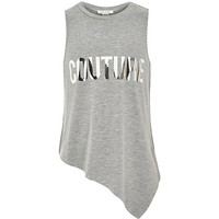 River Island Girls grey couture foil tank top