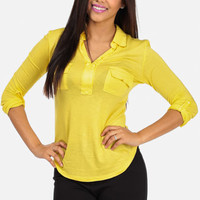 Discounted Long Sleeve T-Shirt (Yellow) in TOPS