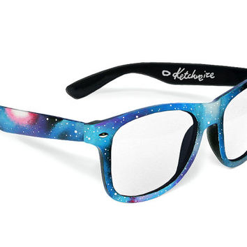 Space Galaxy Nebula Cosmic Custom Wayfarer clear lens glasses '80s retro hand painted