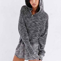 Textured  Oversized Hooded Sweatshirt- Black Multi