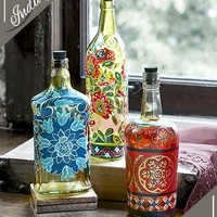 Reclaimed Handpainted Bottle Trio