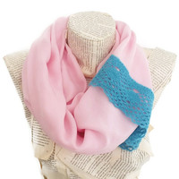 Pink Infinity Scarf with Wool Lace Lightweight, Scarf in Pink,Circle Scarf