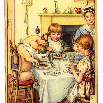 "Cicely Mary Barker Print -  ""YOU SHALL HAVE A KNIFE AND FORK"" - Offset Lithograph - c1930"