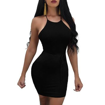 Almagores New women bandage dress runway party dresses Halter Backless mini dress sexy club wear packge hip bodycon bandage robe