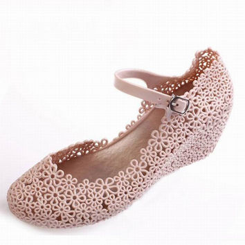 Summer cutout crystal women shoes sandals female elevator reticularis bird nest sandals wedges jelly rain shoes