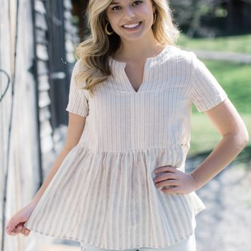 Dallas Striped Babydoll Top, Taupe