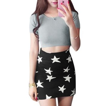Women Zip Up Back Cropped Top w Stars Pattern Skirt Gray Black S - Walmart.com