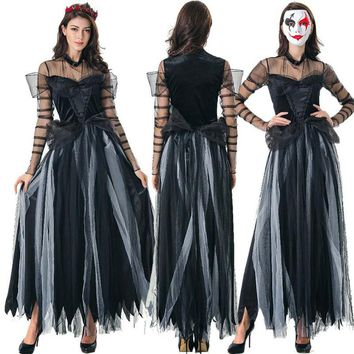 New Halloween Witch Cosplay Costume Ghost Bride Female Gothic Maxi Dress Ghost Festival Yarn Sexy Queen Dress Party Fancy Dress