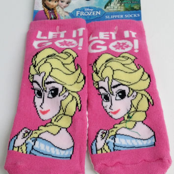 Kids Girls Disney FROZEN Elsa Pink Tall Knee High Socks toddler size 3/5