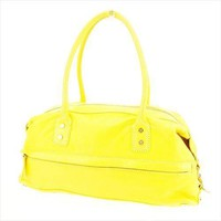 Celine Shoulder bag Macadam Yellow Gold leather Woman Authentic Used D1813